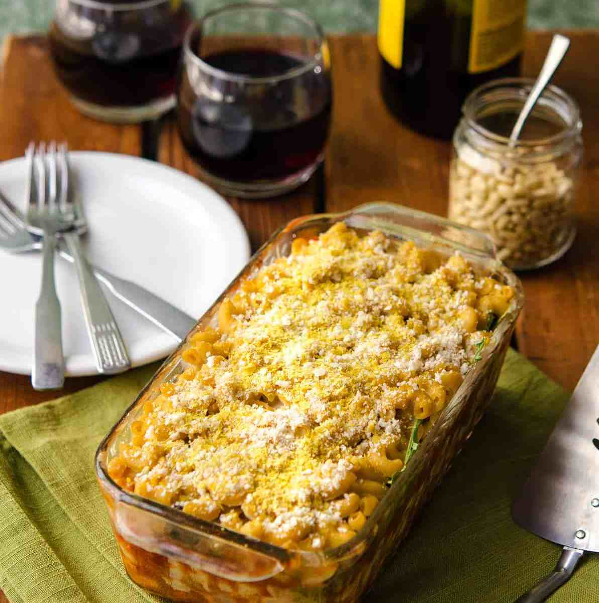 Macaroni Lasagna with White Bean Cheese Sauce