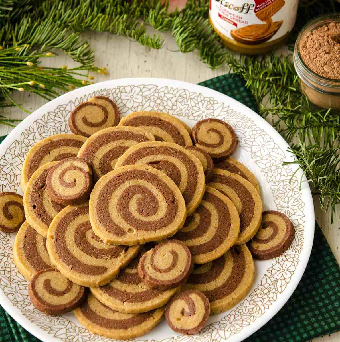 Vegan Chocolate Biscoff Pinwheel Cookies!