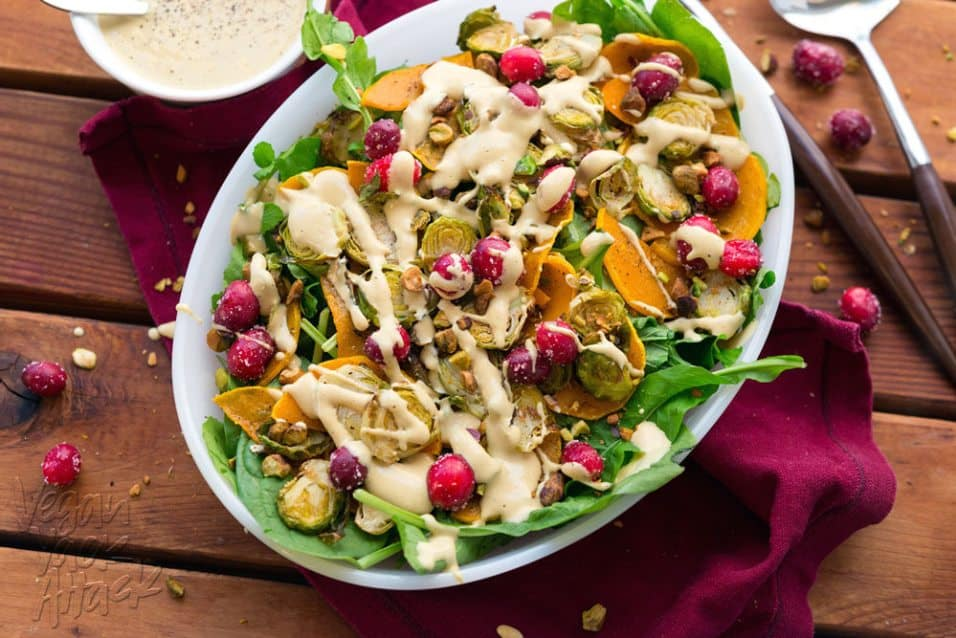 This Brussels Sprout Butternut Squash salad is the perfect, colorful recipe for your holiday table! And the oil-free, creamy dressing is amazing. #vegan #soyfree @VeganYackAttack