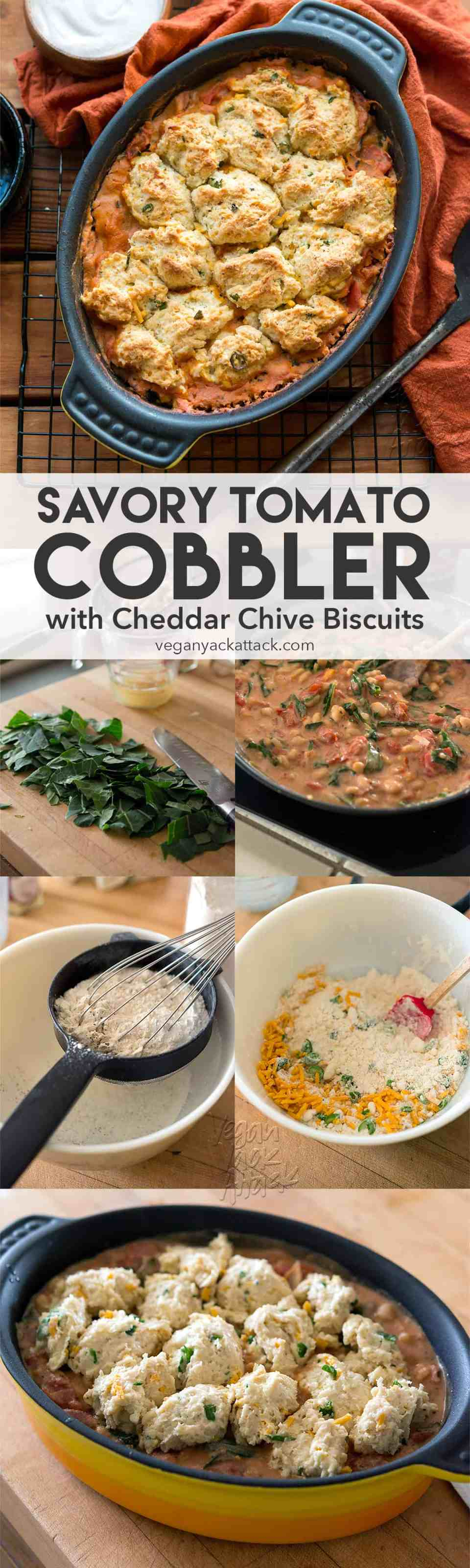 Savory Tomato Cobbler with Vegan Cheddar Chive Biscuit topping! Delicious, hearty and perfect for a weeknight dinner. #nutfree #dairyfree #sponsored #DoPlants