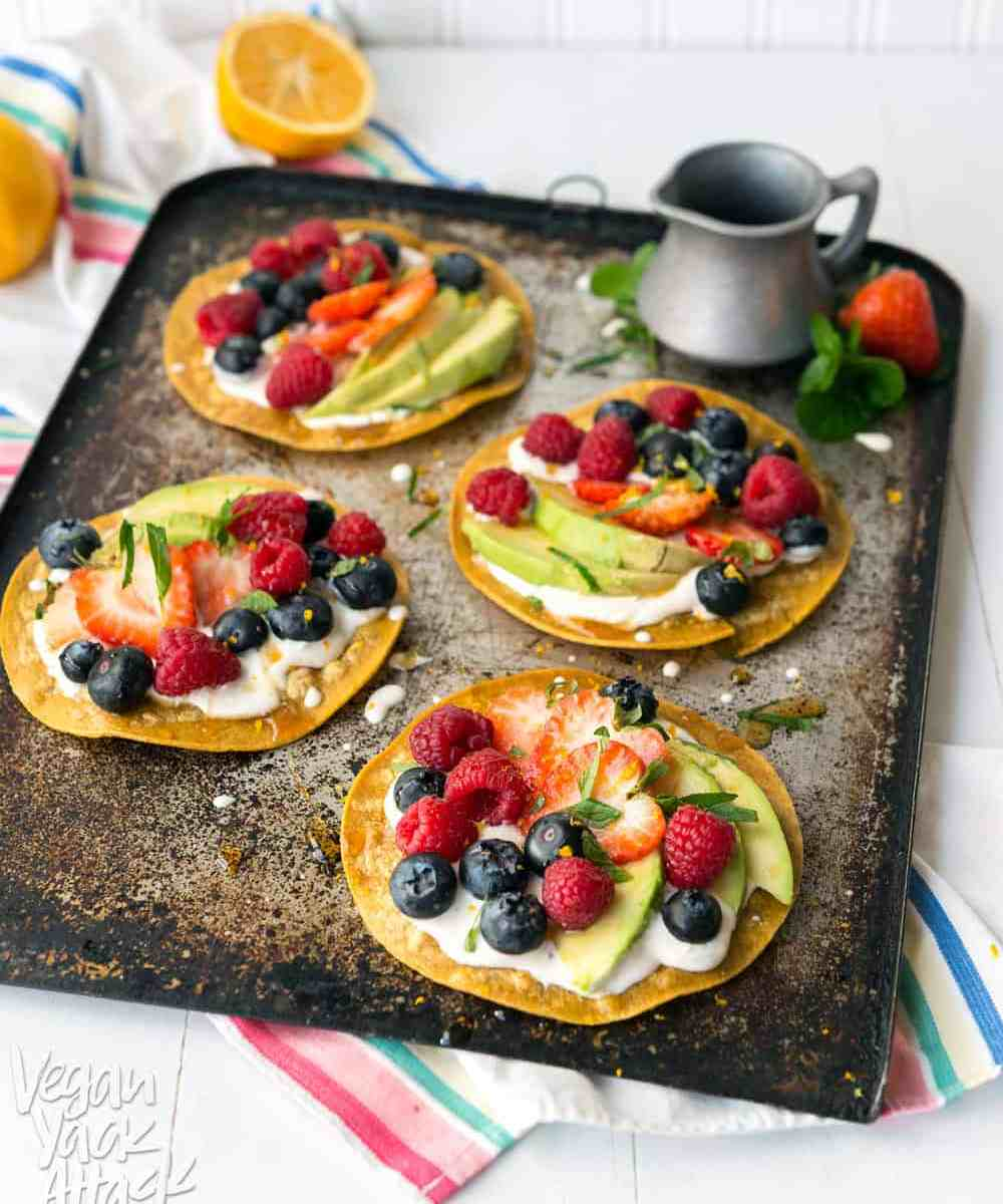 Sweet Breakfast Tostadas - A simple, delicious, breakfast snack made up of fresh fruit, sweet cream and crunchy tortillas! Vegan, Gluten-free, Soy-free