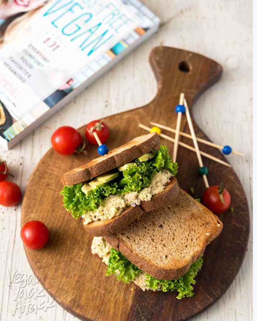 This Chickpea Salad Sandwich from Sam Turnbull's Fuss-Free Vegan cookbook is exactly that - fuss-free! It makes for an easy and delicious lunch. #vegan #glutenfreeoption #lunch #backtoschool