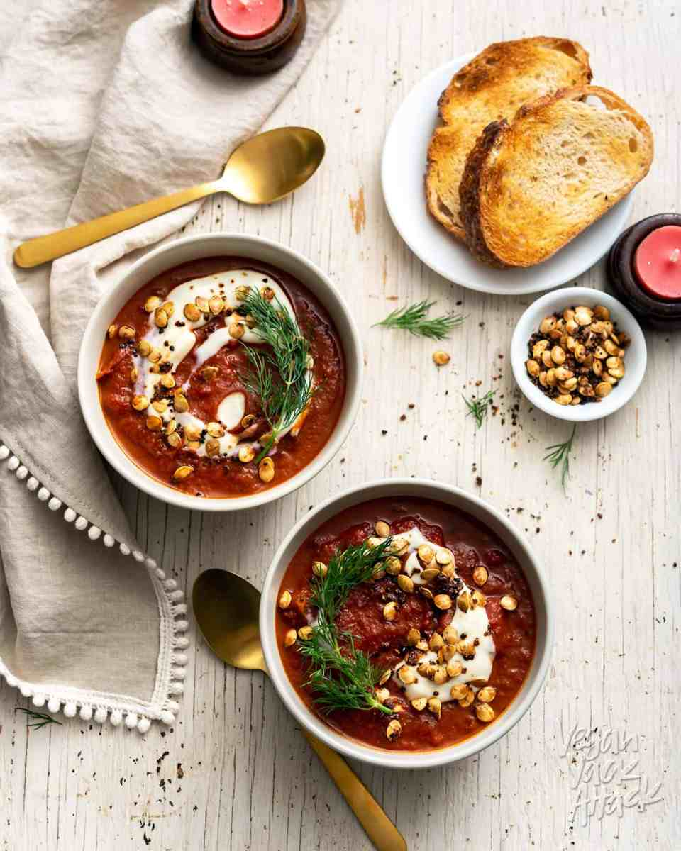 Light, delicious, and nutrient-dense, this Roasted Red Cabbage Soup is filled with flavor! Top with a dollop of dairy-free yogurt, fresh dill, and a few roasted squash seeds. #vegan #glutenfree #nutfree #soyfree