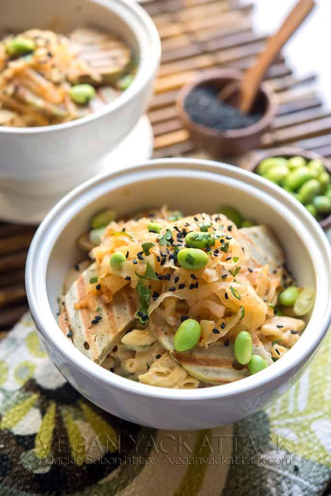 Grilled Seitan Kimchi Mac and Cheese