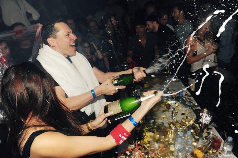 Tiesto and a Champagne Shower