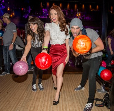 Holly Madison, Claire Sinclair, and Josh Strickland at Brooklyn Bowl Las Vegas