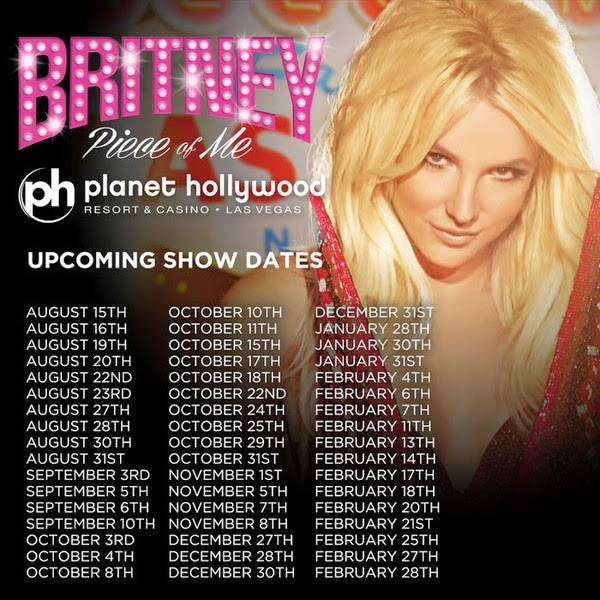 Britney: Piece of Me Schedule