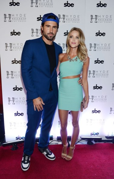 Brody Jenner and Kaitlynn Carter pose on the red carpet at Hyde Bellagio
