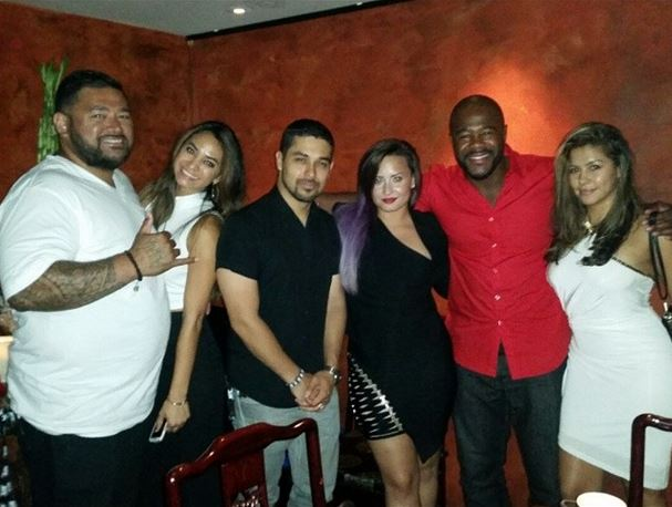 Wilmer Valderrama, Demi Lovato and Rashad Evans at TAO