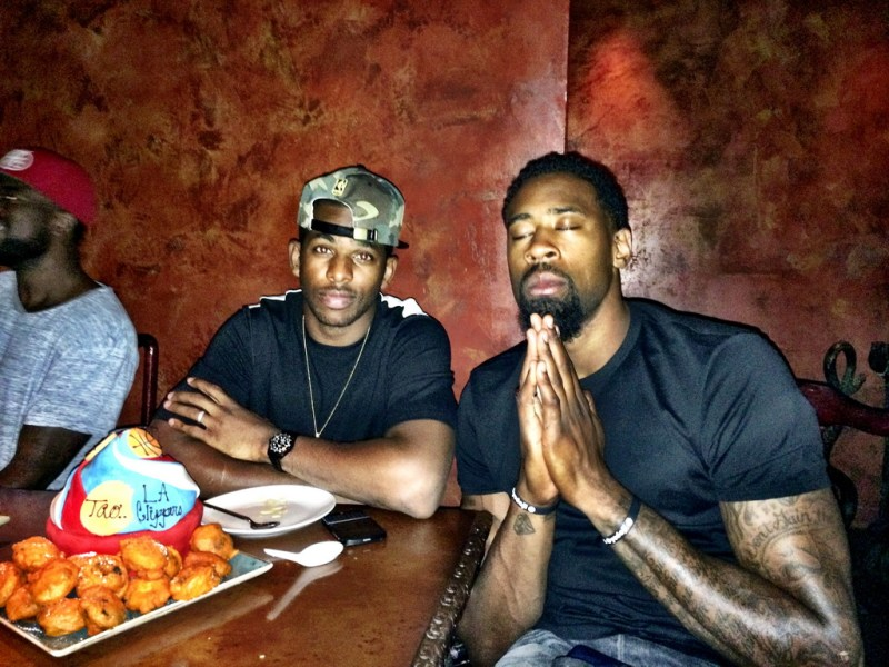 Chris Paul and DeAndre Jordan of the Los Angeles Clippers at TAO Las Vegas