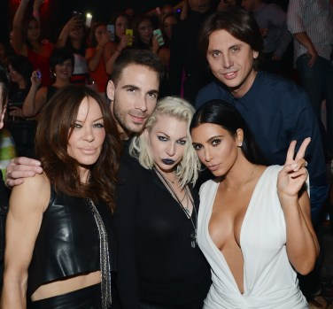 Robin Antin, Simon Huck, Joyce Bonelli, Kim Kardashian West and Jonathan Cheban at TAO
