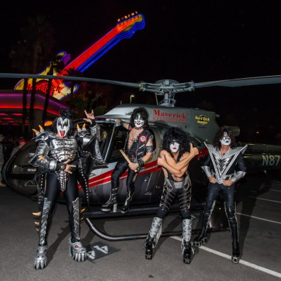 KISS Arrives by Helicopter at Hard Rock Hotel