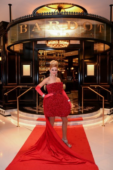 A Parisian model created the red carpet at BARDOT's Opening Party 1.15.15