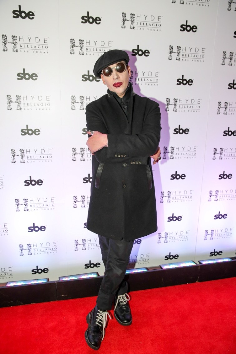 Marilyn Manson walking the red carpet at Hyde Bellagio