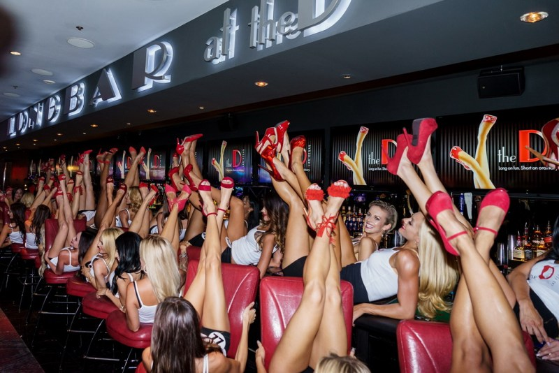 Miss D Legs Contestants Pose on the LONGBAR at The D Las Vegas (Tom Donoghue)