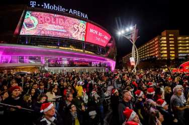 Crowds at Holiday at The Park in front of T-Mobile Arena