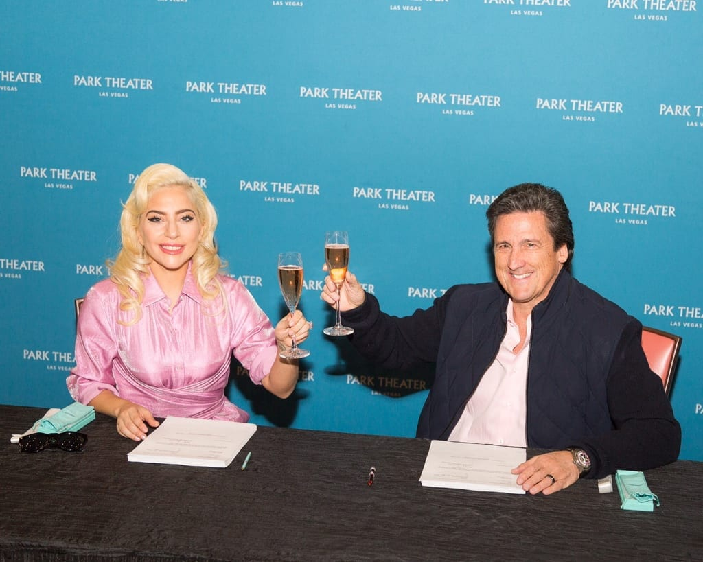 Lady Gaga and MGM Resorts International President Bill Hornbuckle toast to the artist's two-year engagement at Park Theater in Las Vegas