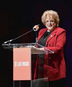 Mayor Carolyn Goodman Speaks to Guests at the Las Vegas Aces & MGM Resorts Press Event