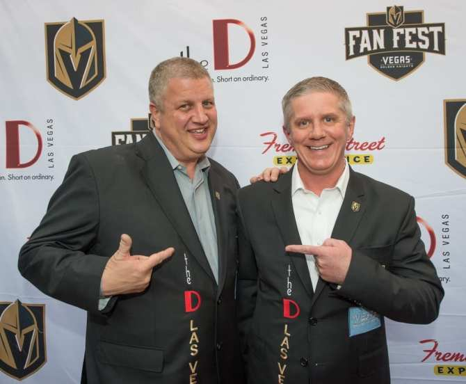 Derek Stevens and Team President Kerry Bubolz Pose on the Fan Fest Red Carpet
