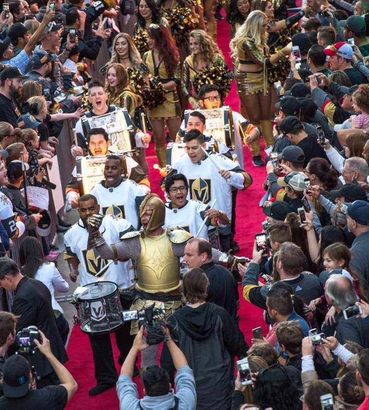The VGK Drumline Walks the Red Carpet to Welcome Excited Fans