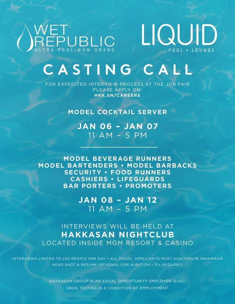 Wet Republic Pool Auditions 2018