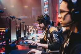 "Andrew ""Andinster"" Woodward of Spacestation Gaming competes onstage during the Smite match at Esports Arena Las Vegas' grand opening"