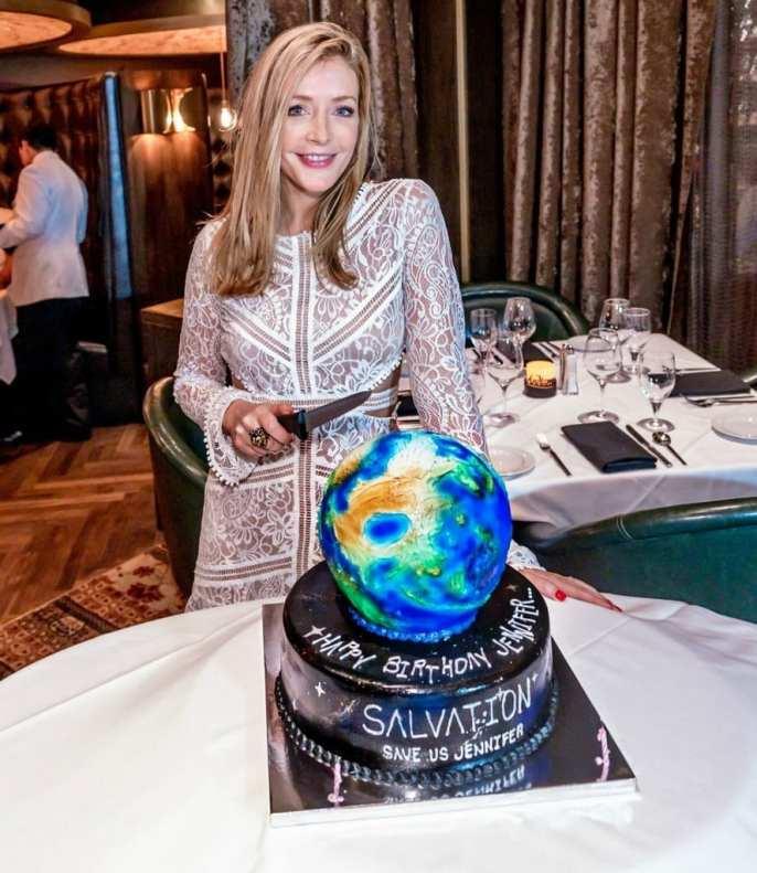 Jennifer Finnigan from Salvation celebrates her birthday in Las Vegas at Andiamo Italian Steakhouse.