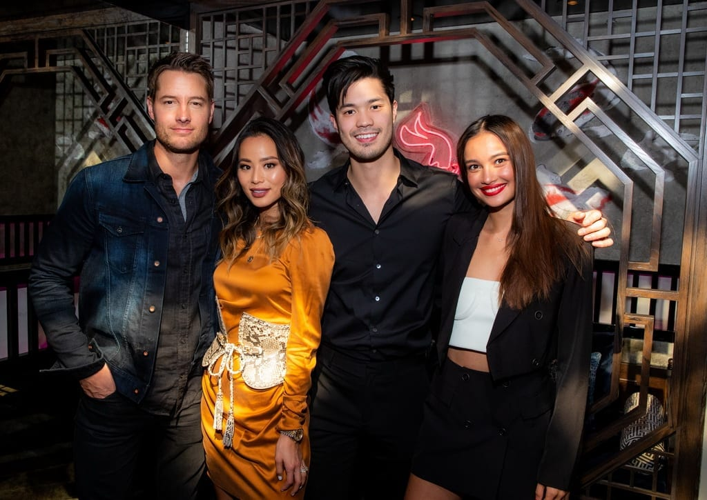 Justin Hartley, Jamie Chung, Ross Butler and Kelsey Merritt at the Mott 32 grand opening at The Venetian Resort Las Vegas, 12.28.18_Credit Erik Kabik