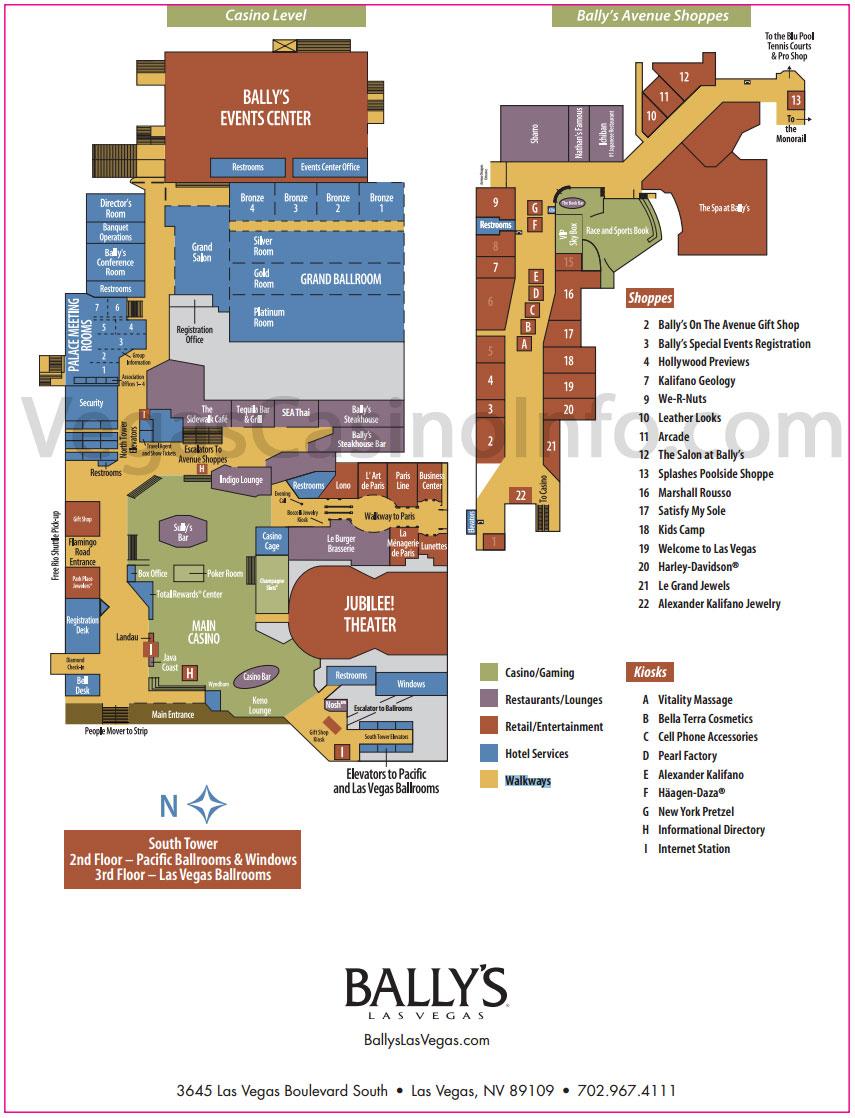 Caesars Palace Tower Map : caesars, palace, tower, Ballys, Property, Vegas, Casino
