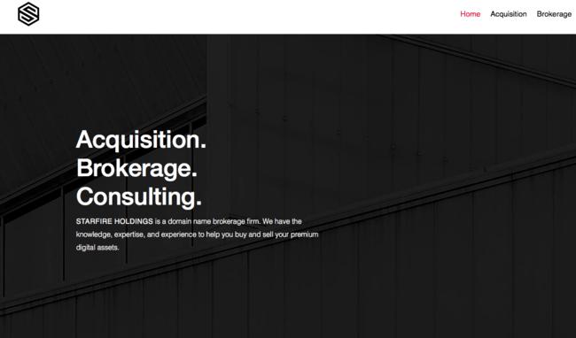 Домашняя страница брокерской фирмы по доменным именам Starfire Holdings
