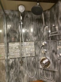 2016 Tiffin Allegro Bus 45OP Shower -- Note the controls in the back corner (2015 model they were in the middle of the wall on the right)