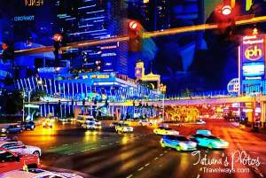 Las Vegas Strip at night viewed from the double decker bus