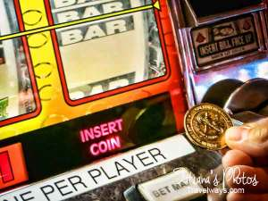 Classic slot machine with coins