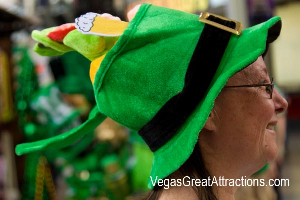 Waring a Green Hat on St. Patrick's Day 2015 on Fremont Street Experience, Las Vegas