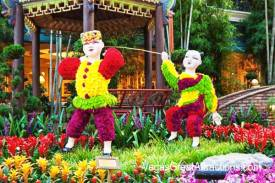 Chinese New Year decorations at Bellagio Gardens and Conservatory 2015 - Kids playing in the grass, in frony of a gazebo