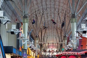 Slotzilla Las Vegas: zip-liners flying on Fremont Street Experience