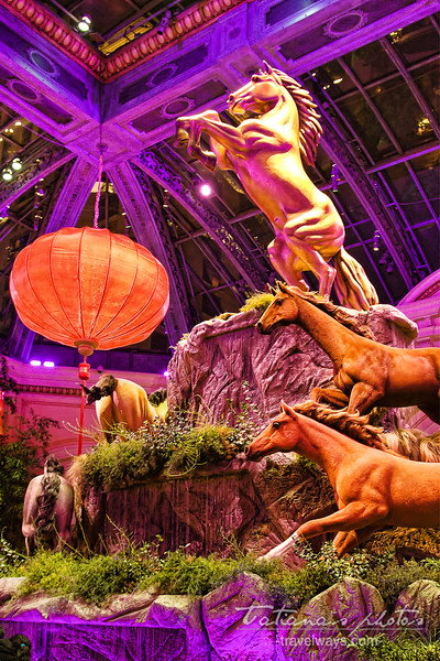Chinese New Year of the Horse decoration at Bellagio hotel, Las Vegas