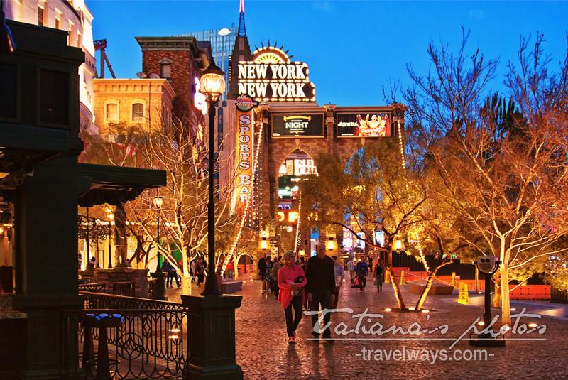 Walking on Las Vegas strip at night