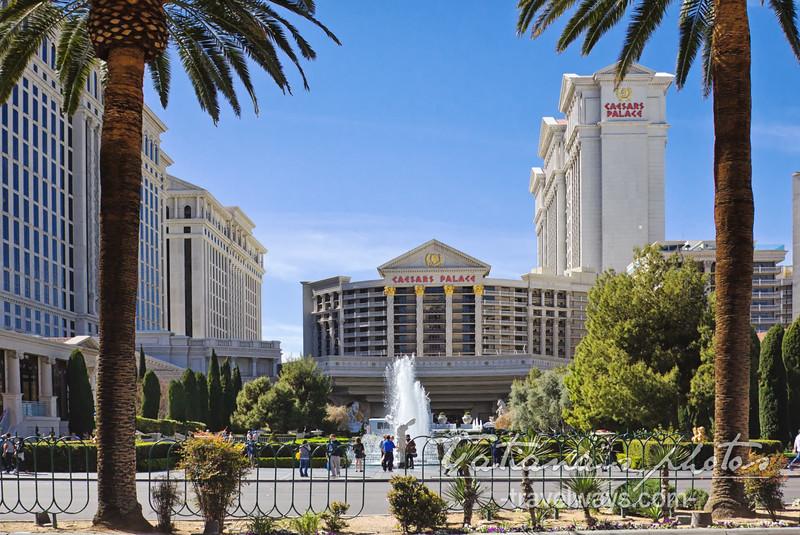 Caesars Palace Fountain on Las Vegas Strip, viewed from across the street