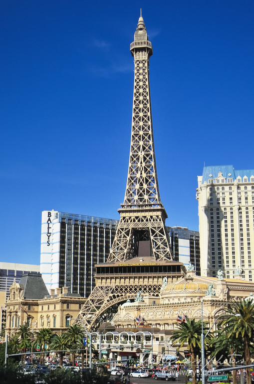 Eiffel tower at Paris Las Vegas in the day time viewed from accros the strip