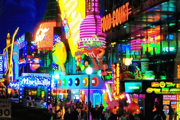 Neon lights on Las Vegas Strip at night