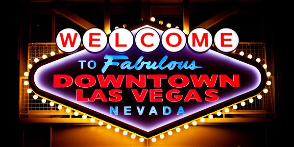 Welcome to downtown Las Vegas at night sign