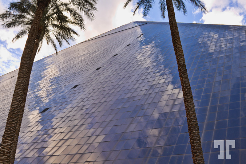 Luxor Hotel pyramid reflecting the sky and clouds