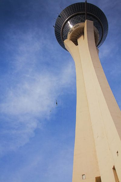 Skyjump Art Print featuring the photograph Skyjump From The Stratosphere Tower Las Vegas by Tatiana Travelways