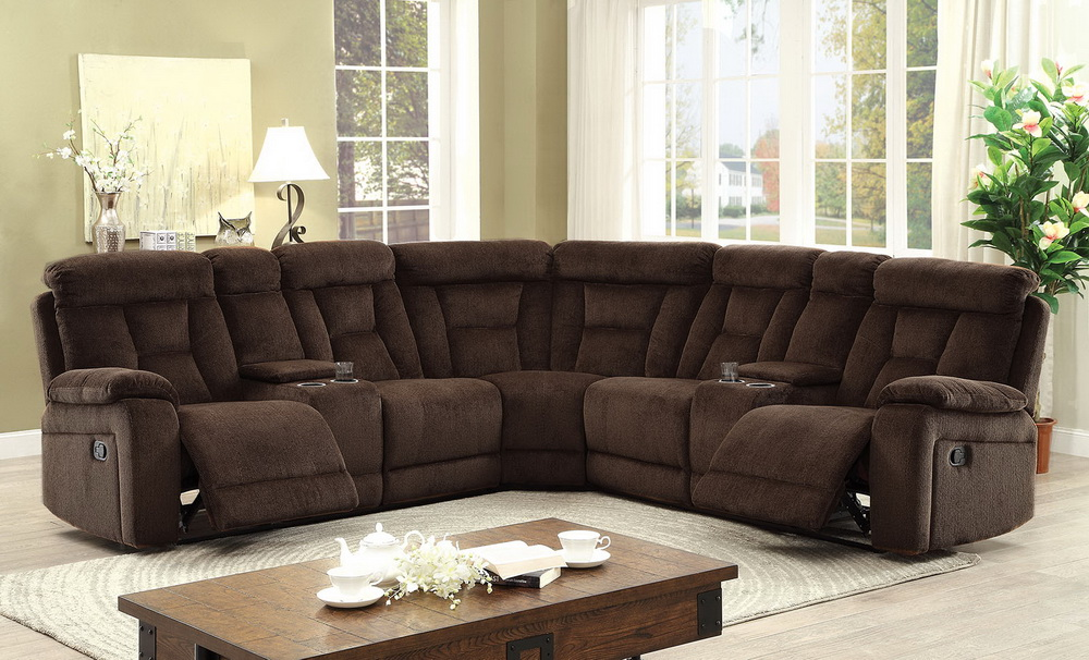 Maybell Chenille Fabric Reclining Sectional  Las Vegas