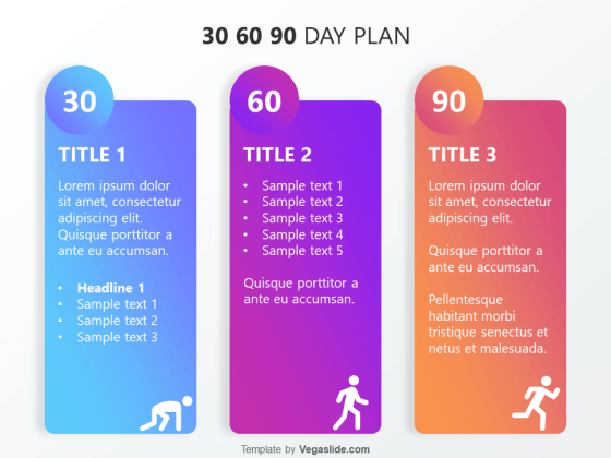 Refreshing 30 60 90 Day Plan PowerPoint Template