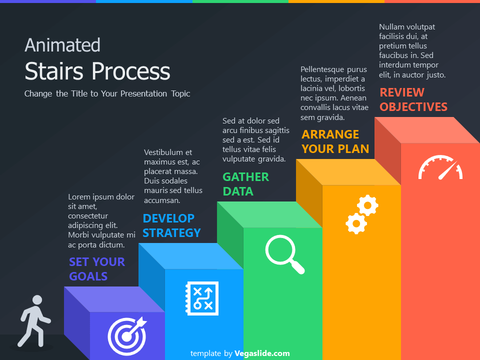 Animated Stairs Process PowerPoint Template - Vegaslide