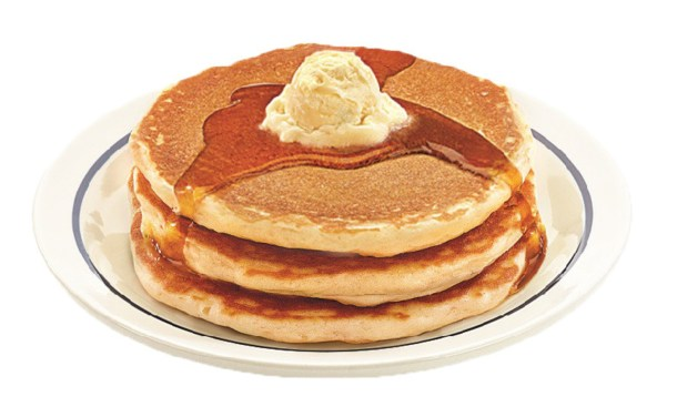 3 large buttermilk IHOP pancakes stacked with butter and syrup