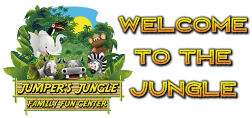 Jumper's Jungle logo, cartoon zoo animals -Welcome to the Jungle