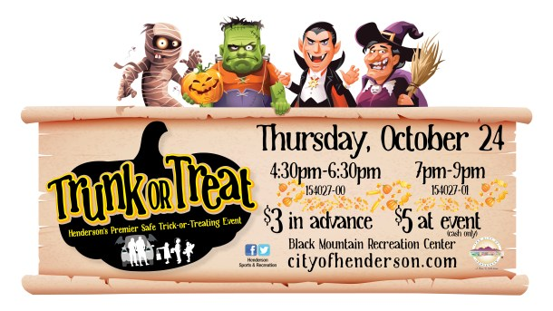 Trunk or Treat poster for Henderson, with cartoon mummy, frankenstein, dracula, and witch